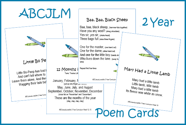 3 Year Poem Cards