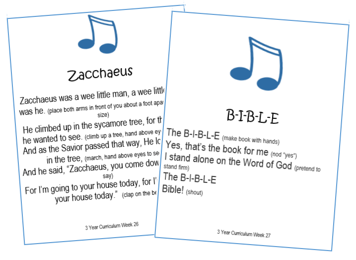 3 Year Bible Song Cards