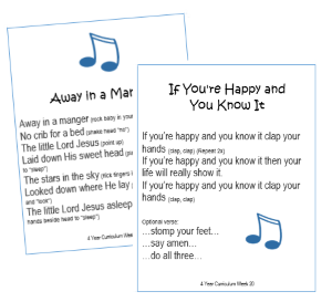 4 Year Bible Song Cards