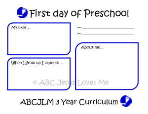 First Day of 3 Year Curriculum