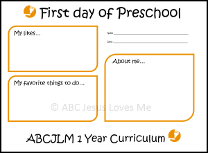 First Day of 1 Year Curriculum