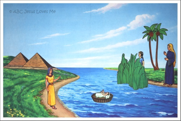 Baby Moses in the river flannelgraph Bible story.