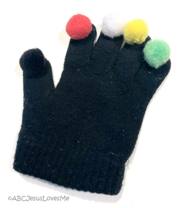 Gospel Fuzzy glove to tell the Wordless Book story.