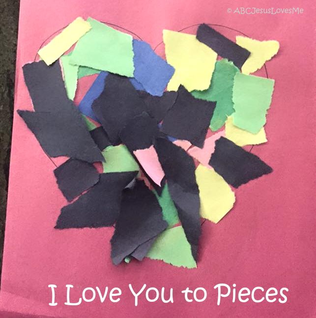 "Valentine Card saying, ""I Love You to Pieces."""