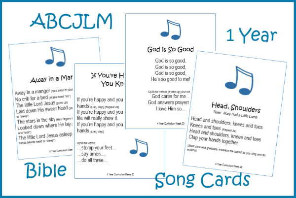 1 Year Bible Song Cards Digital Download