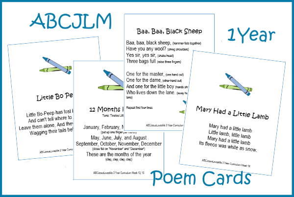 1 Year Poem Cards Digital Download