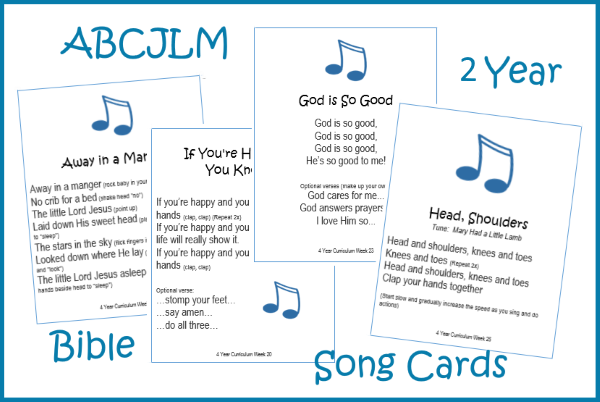 2 Year Bible Song Cards
