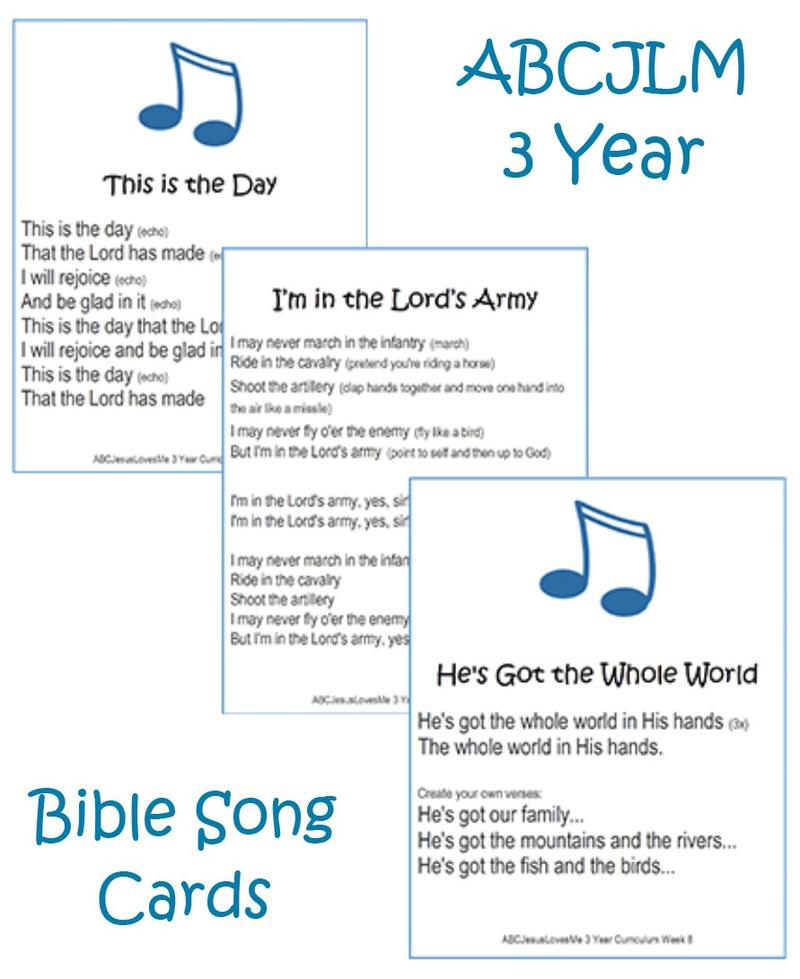 3 Year Bible Song Cards Digital Download