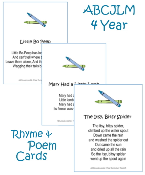 4 Year Poem Cards Digital Download