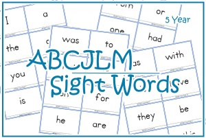 5 Year Sight Words