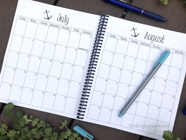 Be Intentional Small Planner Calendar Layout