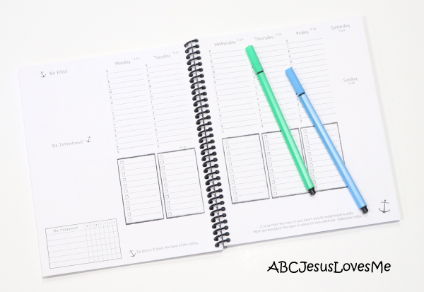Be Intentional Small Planner Weekly Layout